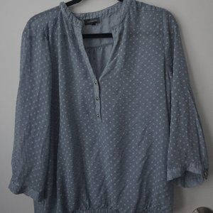 The Limited Sheer Blue Blouse Top Dot Pattern